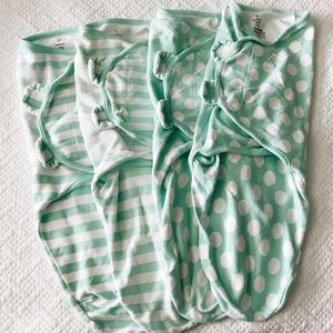 Swaddleme swaddle set of four large neutral teal